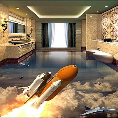 Bebé Gran piso de baño personalizado Sala de estar Cohete lanzado Tierra 3d Cuarto de baño Piso de baldosas de pie 350x245cm