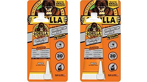 Gorilla 105991 Heavy Duty Construction Adhesive, 2.5 oz, White, 2-Pack