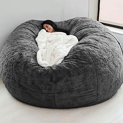 7ft Giant Fur Bean Bag Cover No Filler Soft Fluffy Fur Portable Living Room Lazy Sofa Bed Cover Without Filler (Color : Dark Grey)