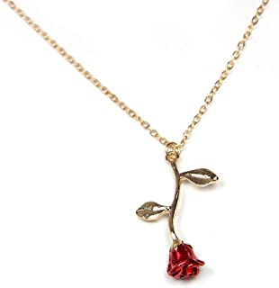 18k Gold and Silver necklaces women personalized long necklaces for women gold necklace rose pendant flower jewelry for gi...
