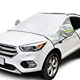 AstroAI Windshield Snow Cover, Extra Large Car Windshield Cover for Ice and Snow 4-Layer Protection for Cars, Trucks, Vans and SUVs Wiper Mirror Protector Windproof Cover for Snow, Ice, UV and Frost