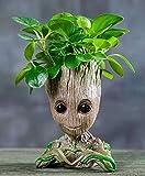 Ecosides Pot de fleurs bébé Groot Pot à crayons Pot à plantes succulentes avec trou Pot à stylo, modèle créatif de personnages de dessins animés mignons pour bureau et décoration de bureau