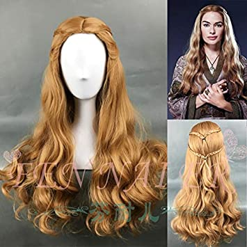 Amazon Com Game Of Thrones Queen Cersei Lannister Brown Wig Wavy Hair Cosplay Wig Halloween Role Play One Size Game Of Thrones Beauty