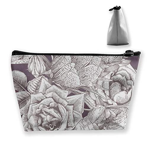 Blumenmuster mit tropischen Blumen auf lila Hintergrund-Vorlage DesiCosmetic Tasche mit Reißverschluss, Toilettenartikel/Reisetasche für Pinsel Schmuck Zugang