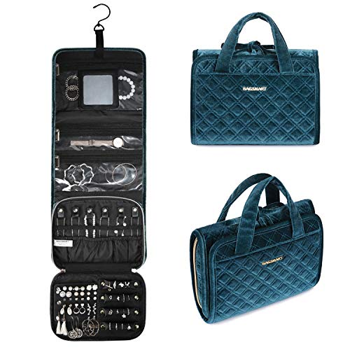 BAGSMART Velvet Hanging Jewelry Organizer Roll with Hook Foldable Travel Jewelry Case for Rings Necklaces Bracelets Earrings Peacock Blue