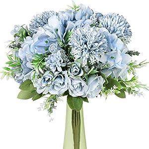 Hawesome Fake Flowers Blue Arrangement 3Pcs Artificial Roses Realistic Hydrangea Silk Carnations Bouquet Arrangements Wedding Decoration Table Centerpieces(Blue)