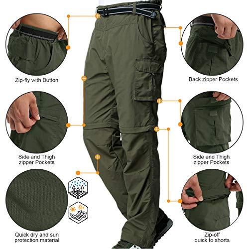 Jessie Kidden Mens Hiking Pants Convertible Quick Dry Lightweight Zip Off Outdoor Fishing Travel Safari Pants (225 Army Green 34)