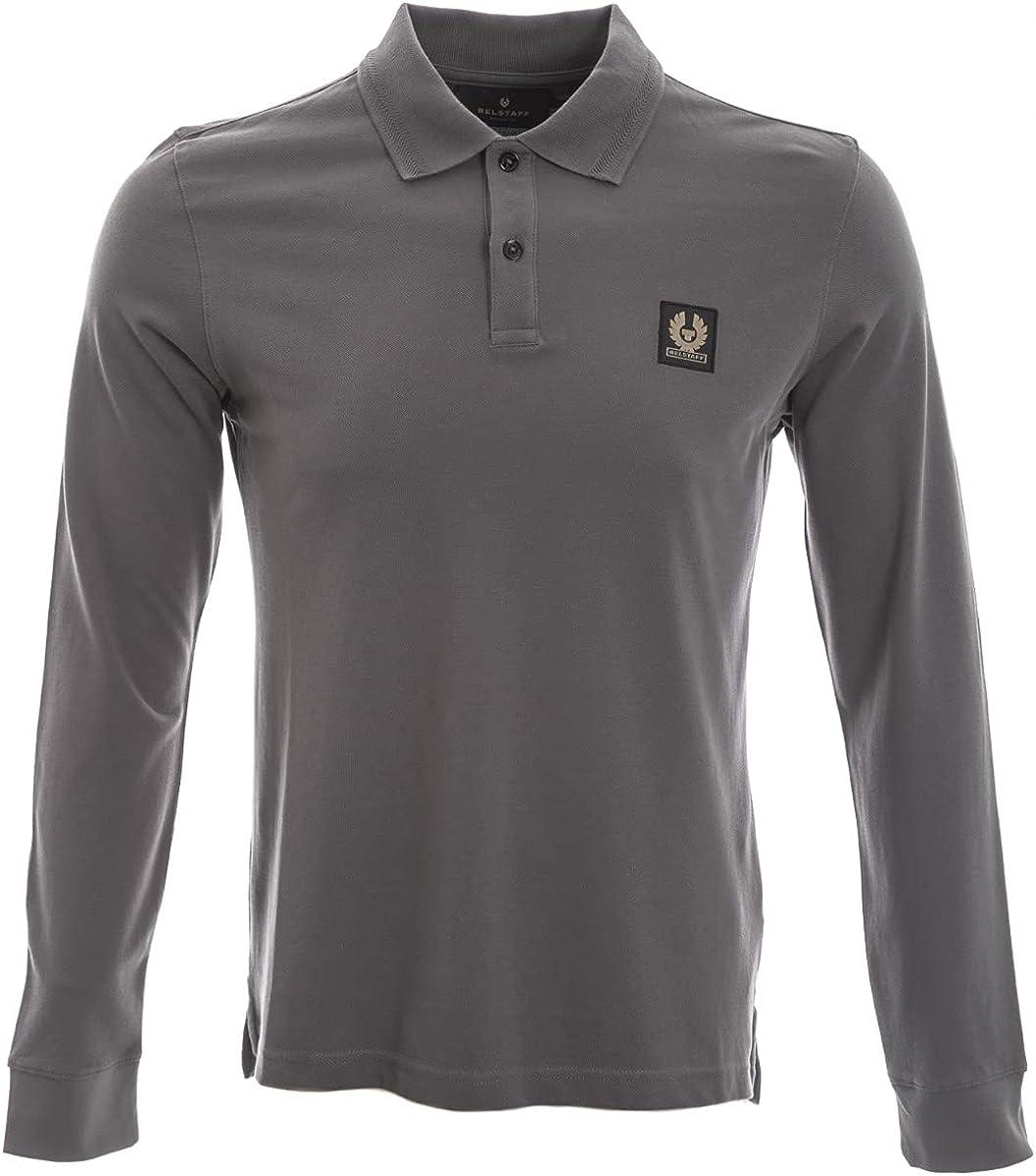 Belstaff Classic Long Sleeve Polo Shirt in Granite Grey