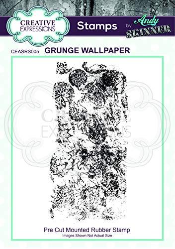 Creatieve uitdrukkingen voorgesneden rubberen stempel door Andy Skinner-Grunge behang, grijs, 6 x 12,8