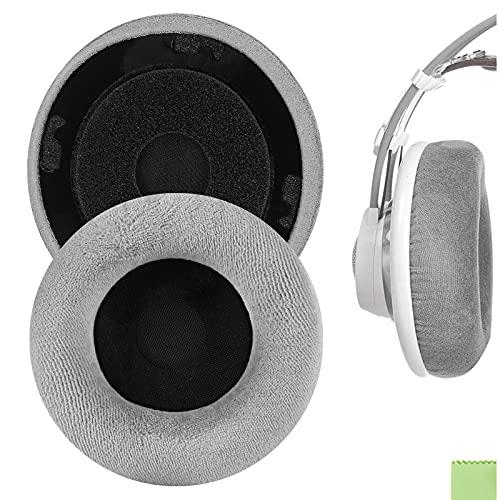 Geekria Comfort Velours Oreillettes de Remplacement pour AKG K701, K702, Q701, Q702, K601, K612, K712 Casque Coussinets d'oreille Coussins, Pièces de réparation d'oreillettes(Gris)