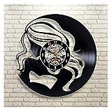 Reloj de Pared Moderno silencioso, Reloj de Pared Retro Record, Decoración de Dormitorio de Estudio de Sala de Estar, decoración del hogar. Bellezas de Pelo Largo