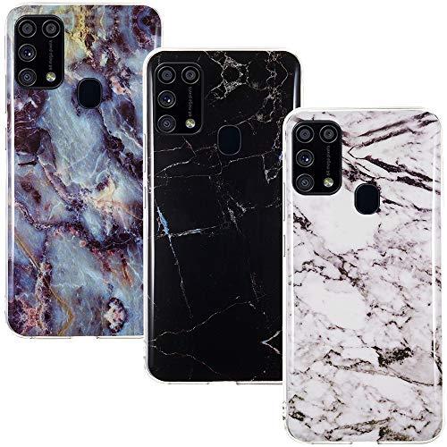 CLM-Tech Hülle 3X kompatibel mit Samsung Galaxy M31 - TPU Silikon-Hülle Hülle Schutzhülle Handyhülle 3er Set - Marmor schwarz weiß Mehrfarbig