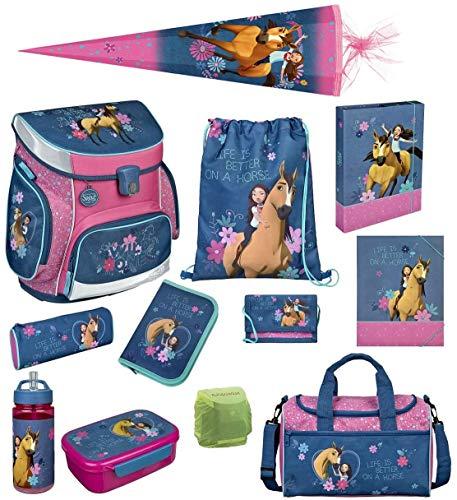 Familando Spirit Pferde Schulranzen-Set 12tlg. rosa blau Sporttasche, Federmappe, Schultüte 85cm und Regenschutz Scooli Campus FIT