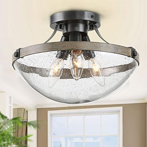 LOG BARN Farmhouse Semi Flush Mount Ceiling Light with Seeded Glass, Close to Ceiling Light Fixture for entryway, Dining Room, Hallway, 11 1/2