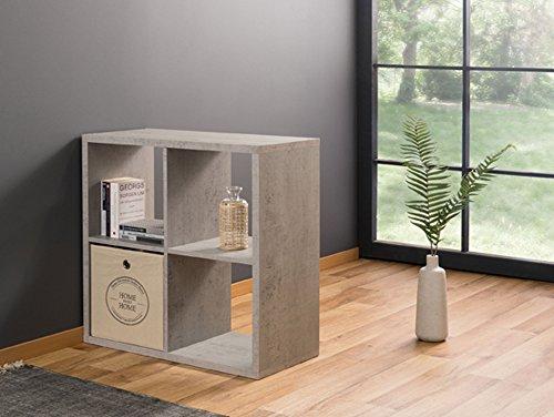 moebel-eins Maxi Regal 4er Würfel, Material Dekorspanplatte, betonfarbig