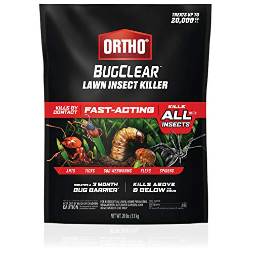 Ortho BugClear Lawn Insect Killer - Kills Ants, Ticks, Sod Webworms, Fleas and Spiders in Your Yard, Fast-Acting, Kills By Contact Above and Below the Ground, 20 lb.