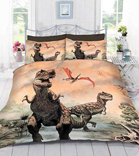 TTO UK Made 3D Digital Photo Print Children's Dinosaur Duvet Quilt Cover Bedding Set With Pillowcase (Pteranodon) Single