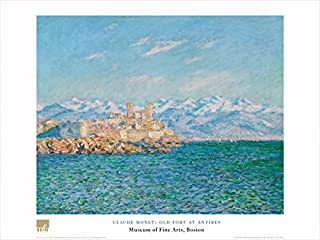 Buyartforless Old Fort at Antibes by Claude Monet 24x32 Art Print Poster Famous Painting Fort Castle Ocean Mountain Range Landscape