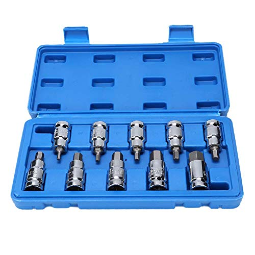Juego de llaves de vaso de ajuste, 10 piezas, herramientas de reparación manual de coche, material de 1/2'