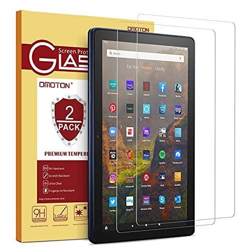 [2 pack] OMOTON Screen Protector for All-New Fire HD 10/Fire HD 10 Plus/Fire HD 10 Kids/Fire HD 10 Kids Pro Tablet 10.1 Inch (11th Generation, 2021 Released), Tempered Glass/High Definition