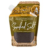 SaltWorks Salish Alderwood Smoked Sea Salt, Fine, Artisan Pour Spout Pouch, 16 Ounce, Medium to Dark Brown Crystals