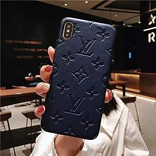 Leather Phone Case for iPhone 8 Plus and iPhone 7 Plus, Monogram Designer Premium PU Leather Cover Case, Blue