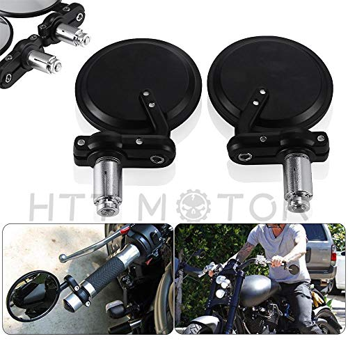 HTTMT MT079-1 inch- Round Rearview Bar End Side Mirrors Compatible with Motorcycle Chopper Cafe Racer