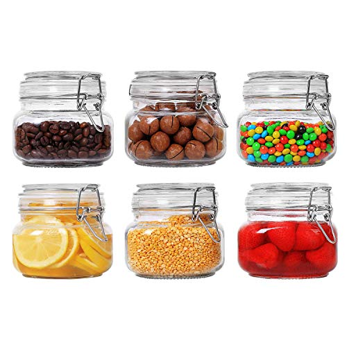 ComSaf Airtight Glass Canister Set of 6 with Lids 17oz Food Storage Jar Square - Storage Container with Clear Preserving Seal Wire Clip Fastening for Kitchen Canning Cereal,Pasta,Sugar,Beans,Spice