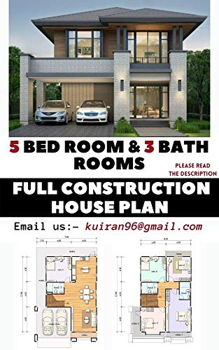 5 Bedroom & 3 bath room Full Modern House Plans With AUTO CAD File: Home Floor Plans | Cabin Cottage Building plans | Full Constrction Plans (English Edition)