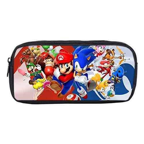 MIAOGOU Super Mario Juguetes Impreso Anime Sonic Hedgehog Bros Super Mario Bolsa De Dibujos Animados Papelería Lápiz Caso De Maquillaje Caja De Almacenamiento Bolsa De Artículos Escolares para Niños