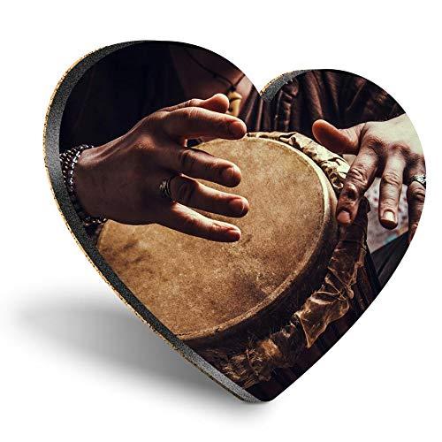 Posavasos de MDF con forma de corazón – Djembe Drum Music Africa | Posavasos de calidad brillante | Protección de mesa para cualquier tipo de mesa #2644