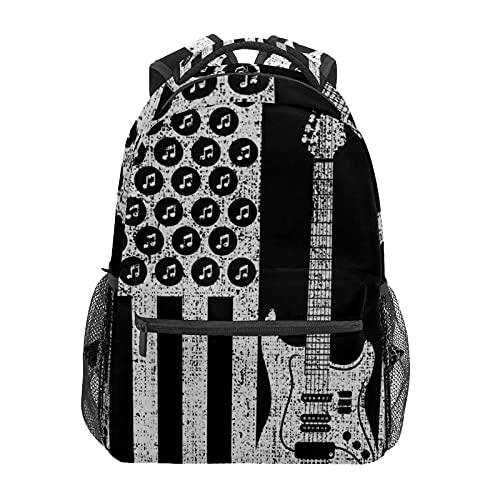 Mochila escolar vintage bajo eléctrico guitarra USA Estudiante americano Viaje Senderismo Camping Daypack Casual libro Bolsas bolsa de hombro