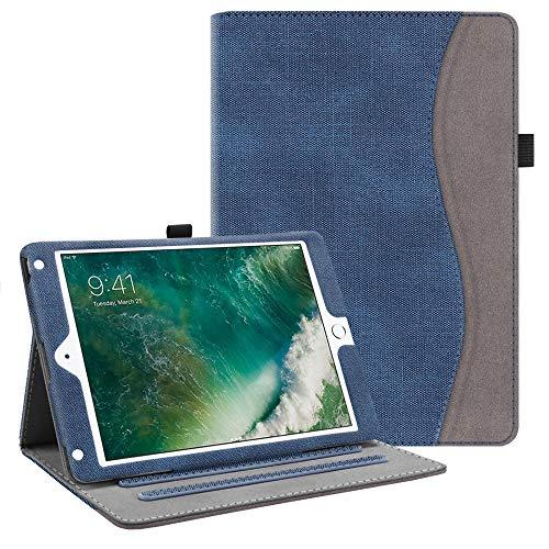 FINTIE Custodia per iPad 9.7 Pollici 2018 2017, iPad Air 2, iPad Air - [Multi-angli] Folio Pieghevole Cover Protettiva Case Auto Sveglia/Sonno (con Tasca per Le Schede), Denim Indigo
