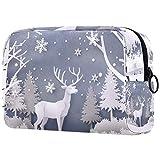 Navidad día ciervos en bosque con nieve bolsas de maquillaje portátiles bolsa de cosméticos impresa, bolsa de cosméticos para mujeres bolsa de viaje