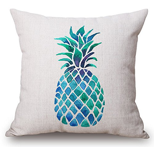 Andreannie Watercolor Blue Fresh Fruit Pineapple Cotton Linen Throw Pillow Case Cushion Cover Home Office Decorative Square 18 X 18 Inches