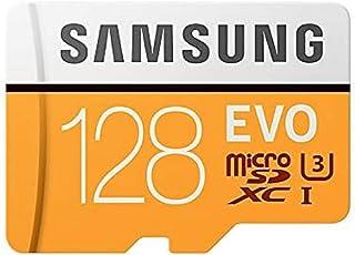 Samsung MicroSDXC EVO - Tarjeta de Memoria (MicroSDXC EVO, 128 GB, MicroSDXC, Clase 10, 100 MB/s, UHS-I, IPX7), Naranja/Bl...