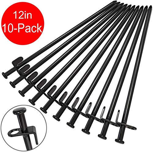 BareFour Tent Stakes, Heavy Duty Camping Stakes 12-Inch Forged Steel Tent Pegs Unbreakable and Inflexible Available in Rocky Place Dessert Snowfield and Grassland(10-Pack)