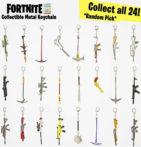 Sambro-Llavero Fortnite 3D, armas de metal, para coleccionar e intercambiar, aprox. 12 cm, colores surtidos carbón (PMI… 2