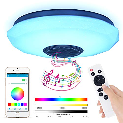 Lámpara De Techo Led Con Altavoz Bluetooth, 36W Moderna Luz De Dormitorio Integrada En El Techo, Iluminación Rgb De Control De Aplicación De Soporte, Pantalla De Techo Para Baño, Cocina, Pasillo