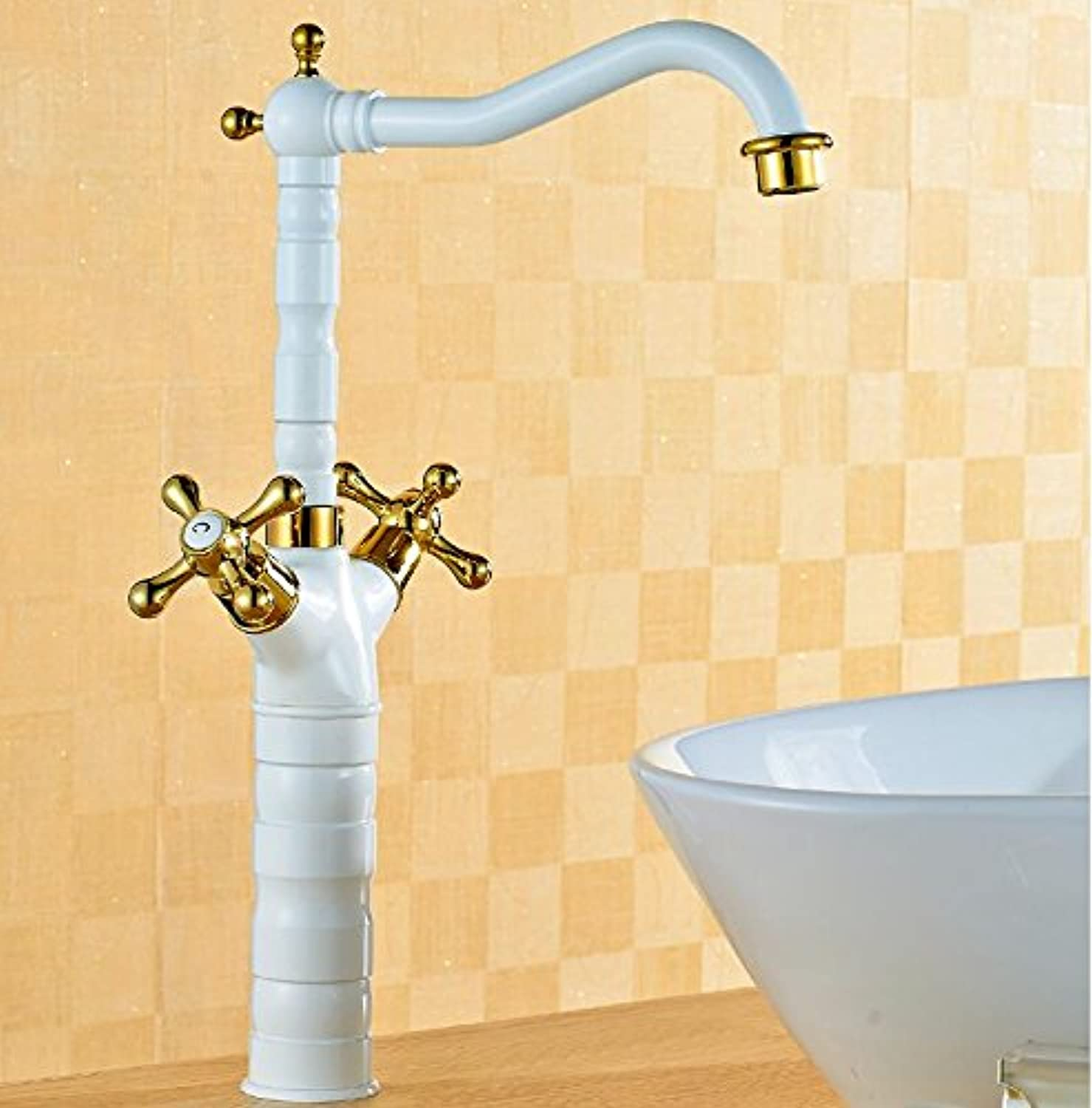 Maifeini Taps, Taps, Taps, High-Quality White And gold Water Tap Classic New Bathroom Basin Mixer Deck Install Bathroom Sink Mixer, And Tall White