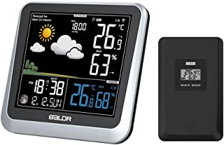 BALDR Color Digital Wireless Indoor/Outdoor Weather Station with Thermometer & Hygrometer, Displays Temperature, Humidity & Barometer. Constant Back-Light with Dimmer. Power Adapter Included