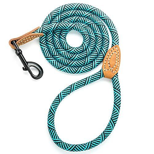 Mile High Life Leder Tailor Griff Klettern Hund Seil Leine mit Schweren Pflicht Metall Stabile Schließe (4/5/6Füße), 4 FT, Türkis Grün