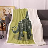 Dinosaur Sherpa Fleece Blanket,Cartoon Style Anchiceratops Dino Jurassic Digital Printing Blanket,Print Digital Printing Throw Blanket(40in x 50in,Dark Khaki Army Green Charcoal Grey and Olive Gree)