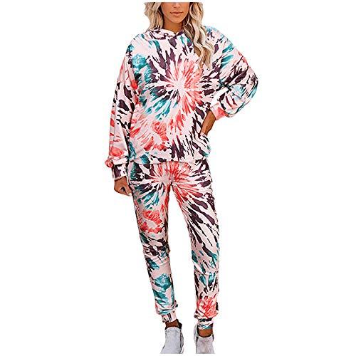 YSLMNOR Two Piece Sets Womens Tie-dye Printing Home Sleepwear Suit Fashion Hooded Sweatshirts + Pant Red