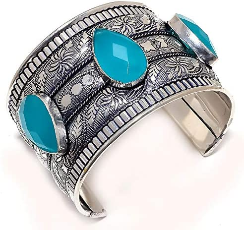 Blue Onyx Large discharge sale Gemstone Ethnic Style 925 Cuff Sterling Max 74% OFF Silver Bracele