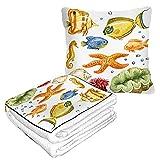 Manta de viaje y almohada 2 en 1 premium de franela suave paquete compacto gran manta para viajes caballito de mar concha de mar actinia acuario naturaleza océano color burbuja salvaje