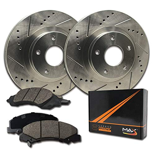 Max Brakes Rear Performance Brake Kit [ Premium Slotted Drilled Rotors + Ceramic Pads ] KT085132 Fits: 2004-2015 Nissan Armada Titan | 2004-2010 Infiniti QX56