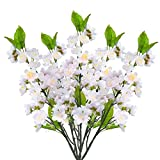 Dolicer 6PCS White Pink Cherry Blossom Flower Artificial Peach Blossom Flower Silk Cherry Blossom Branches Fake Peach Cherry Blossom Artificial blossom Tree Stems for Wedding Home Indoor Outdoor Decor