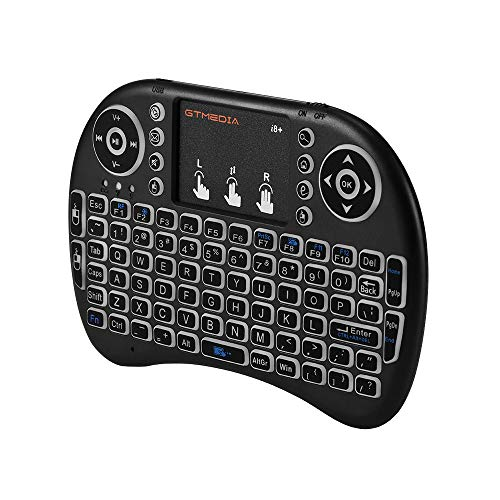 GTMEDIA i8+ 2.4G Mini Wireless Keyboard with Touchpad Backlight, Remote USB Rechargable Backlit Multitouchpad 92 Keys QWERTY Keyboard for Laptop/Smart TV
