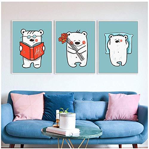 Bär Poster Drucke Wandkunst Leinwand Malerei Niedliches Tier Bild Kinder Kinder Kinderzimmer Wohnzimmer 40x50cm Kein Rahmen weiß
